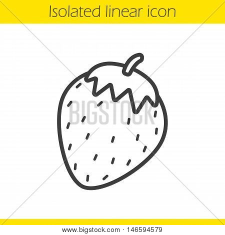 Strawberry linear icon. Thin line illustration. Contour symbol. Vector isolated outline drawing