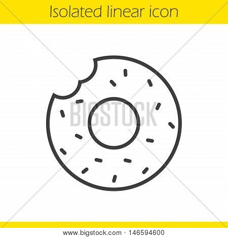 Donut linear icon. Thin line illustration. Doughnut with sprinkles contour symbol. Vector isolated outline drawing