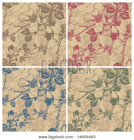 seamless retro floral pattern (vector)