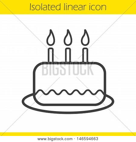 Birthday cake linear icon. Thin line illustration. Holiday cake with candles contour symbol. Vector isolated outline drawing