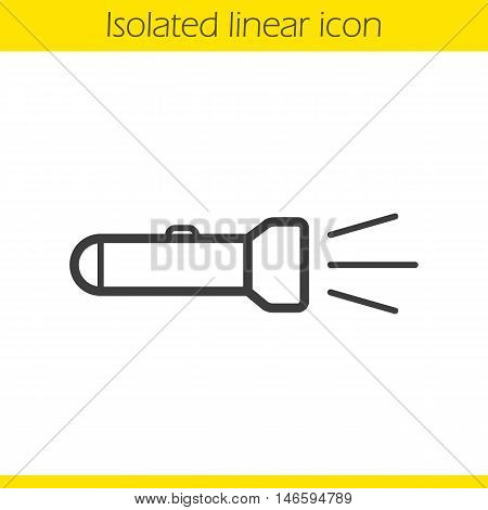 Flashlight linear icon. Torch light on. Thin line illustration. Contour symbol. Vector isolated outline drawing