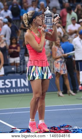 NEW YORK - SEPTEMBER 10, 2016:Two times Grand Slam champion Angelique Kerber of Germany during trophy presentation after her victory at US Open 2016 at Billie Jean King National Tennis Center