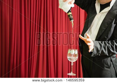 Magic Trick With Bottle And Glass