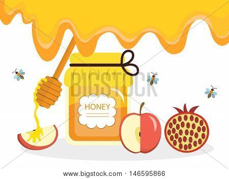 Greeting card for the Jewish New Year Rosh Hashanah Shana Tova. Rosh Hashanah greeting card. Honey and apples pomegranates. Vector illustration