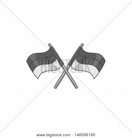 Racing flags icon in black monochrome style isolated on white background. Finish and start symbol vector illustration