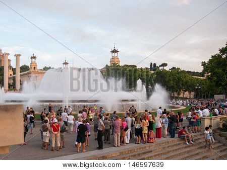 JUNE 17, 2011 - BARCELONA, SPAIN: People near the Magic Fountain of Montjuic. Barcelona. Catalonia. Spain