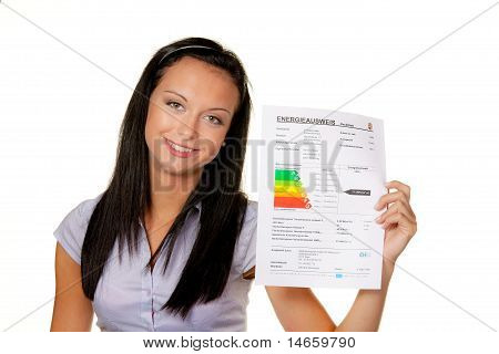 Woman with an Energy Performance Certificate