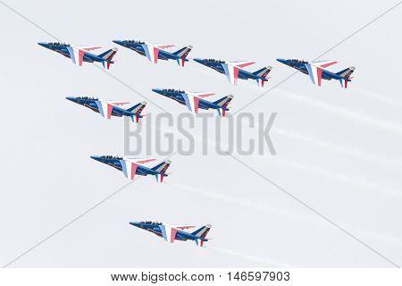 Leeuwarden, The Netherlands-june 11, 2016: Pilots Of Patrouille De France Perform Acrobatics At The