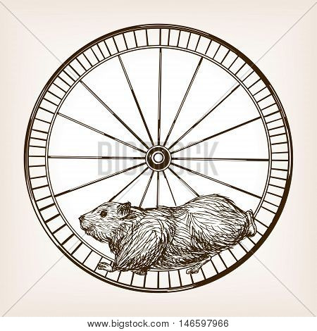 Hamster in a wheel sketch style vector illustration. Old engraving imitation.