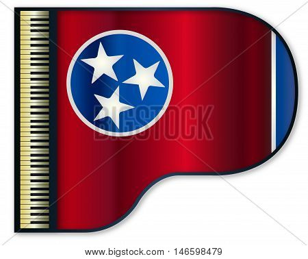 The Tennessee state flag set into a traditional black grand piano