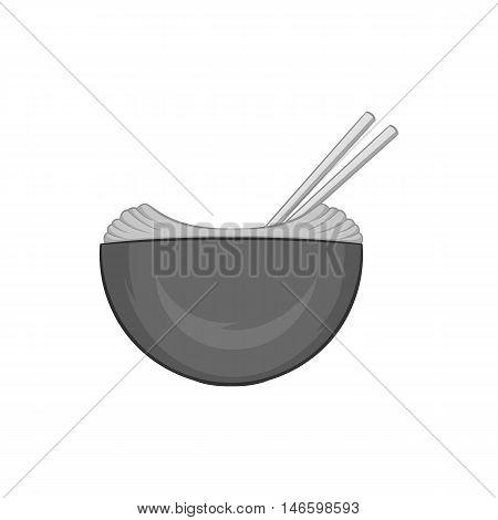 Noodles with chopsticks icon in black monochrome style isolated on white background. Food symbol vector illustration