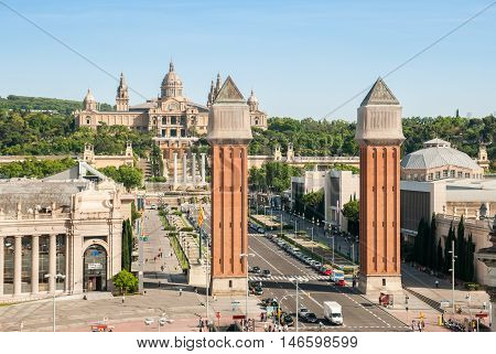 JUNE 17 2011 - BARCELONA SPAIN: Venetian Towers and National Palace on Plaza de Espana in Barcelona