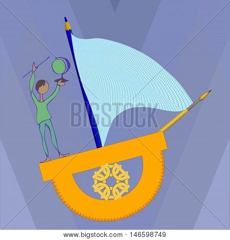 A boy on a ship of the protractor, illustration