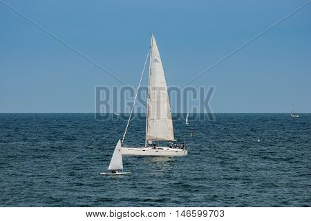 JUNE 18 2011 - BARCELONA SPAIN: Sail boats at Barselona bay