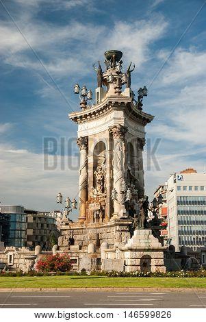 JUNE 18 2011 - BARCELONA SPAIN: Statues and Fountain at Plaza de Espana in Barcelona Spain