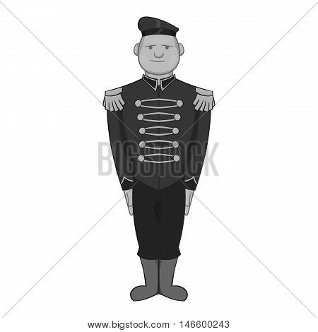 British soldier in uniform icon in black monochrome style isolated on white background. Military symbol vector illustration