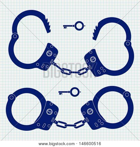 Handcuffts. Blue icon. Vector illustration on notebook sheet