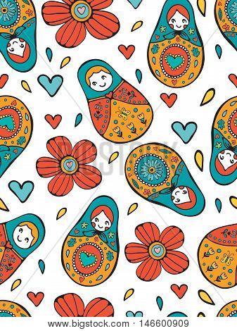 Seamless Russian Dolls pattern illustration in vector format