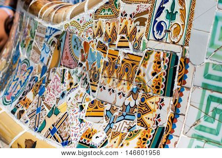 Fragment Of A Colorful Ceramic Bench At Parc Guell. Barcelona