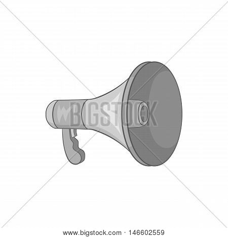 Mouthpiece icon in black monochrome style isolated on white background. Loud sound symbol vector illustration