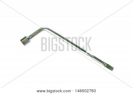 Wheel Wrench With Head Isolated On White.