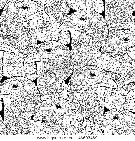 Graphic turkey heads drawn in line art style. Vector seamless pattern. Thanks giving day vector art. Coloring book page design for adults and kids