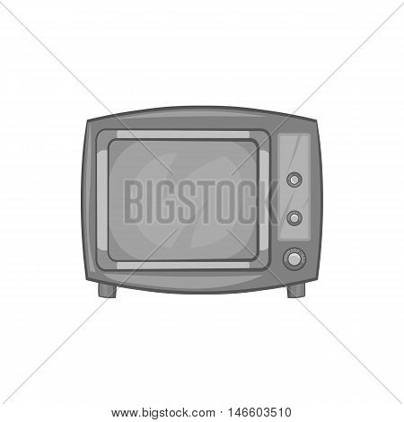 Retro TV icon in black monochrome style isolated on white background. Broadcast symbol vector illustration