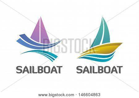 Vector logo design. Colorful nautical sailboat logo symbol binary set.