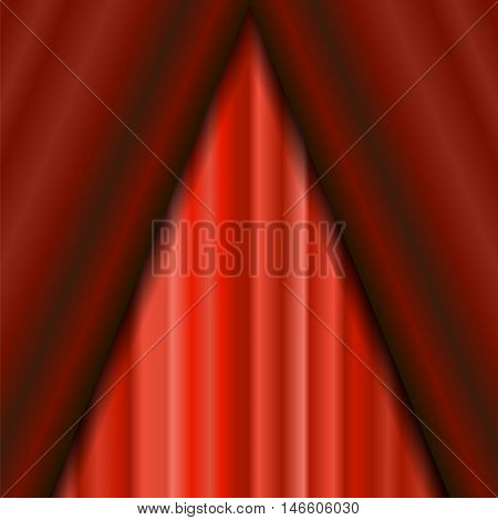 Cinema Closed Red Curtain. Red Textile Pattern. Cinema Stage.