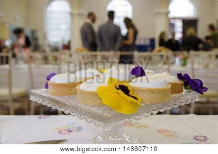 Cakes set up at the wedding venue in church