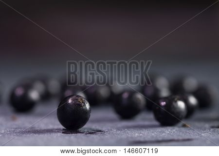 some elderberries on a blue-gray slate plate blurred background with copy space macro shot with selected focus and narrow depth of field
