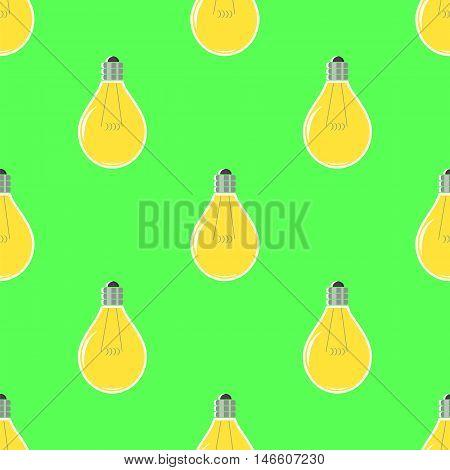 Yellow Lamp Seamless Pattern on Green. Glass Bulb Background
