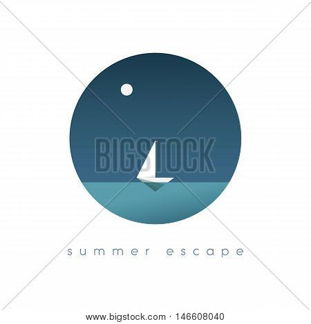 Summer holidays concept illustration with ocean view in some exotic location. Sailboat or yacht as symbol of traveling and adventure. Polygonal style. Eps10 vector illustration.