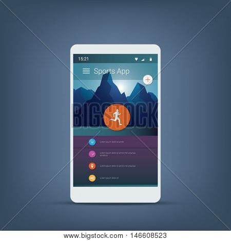 Fitness or sports tracker application graphic user interface in modern material design background with icons for menu. Eps10 vector illustration.