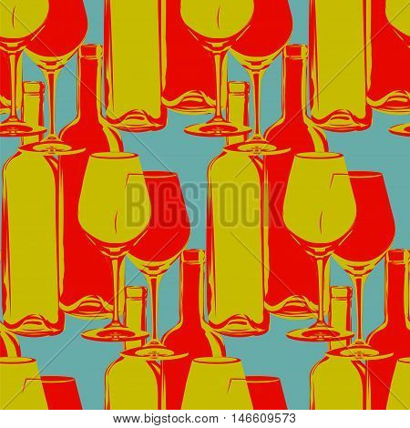 seamless pattern in vintage colors - wine bottles and glasses
