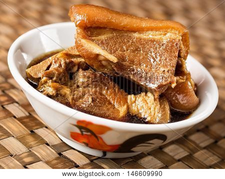 close up of a bowl of chinese braised pork