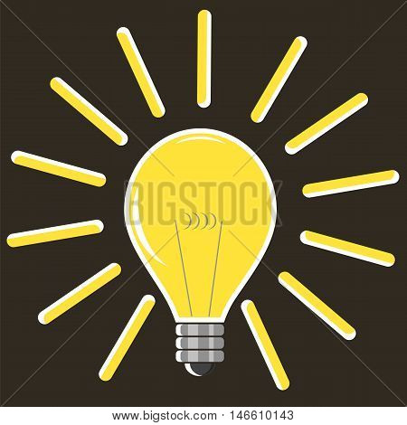 Yellow Lamp Isolated on Brown Background. Included Glass Bulb. Symbol of Original Ideas.
