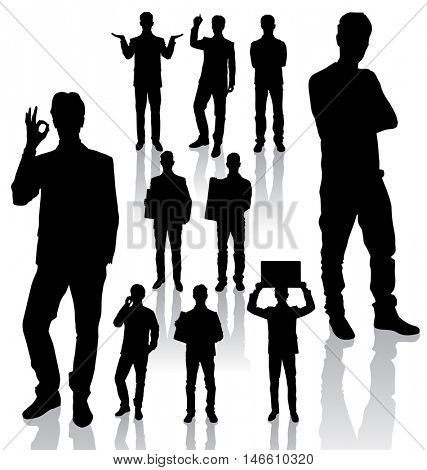 Vector silhouettes of business people in different poses