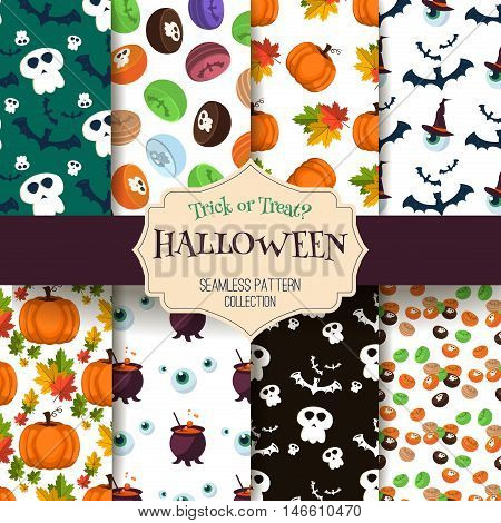 Halloween seamless pattern bat decoration ghost set. Scary wallpaper horror design halloween seamless pattern spooky silhouette. Holiday october scary halloween seamless pattern fear texture.