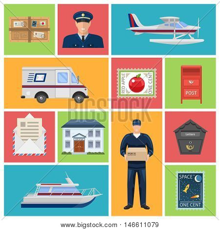 Post office flat icons with employees letters and parcels mailboxes transportation on colored backgrounds isolated vector illustration