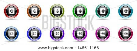 address book round glossy colorful web icon set