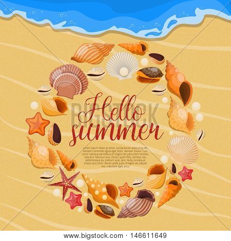 Summer sea shells poster with round shells frame and title hello summer vector illustration