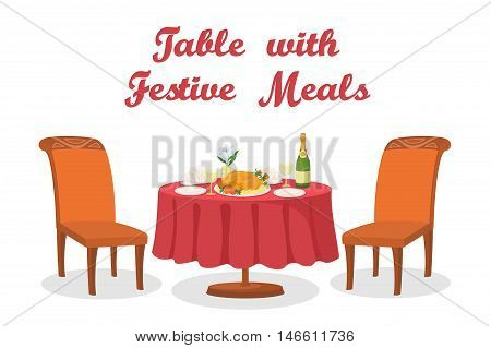 Festive Meals on Served Table, Holiday Food, Thanksgiving Roasted Turkey, Bottle of Champagne, Glasses, Napkins, Plates, Two Chairs Isolated on White Background. Eps10 Contains Transparencies. Vector