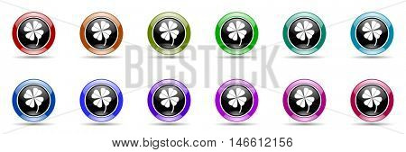 four-leaf clover round glossy colorful web icon set