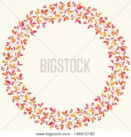 painted watercolor wreath of stylized leaves.