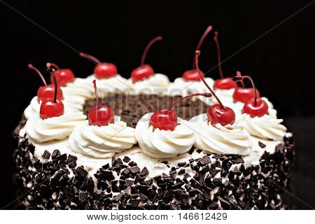 Black Forest Cake On A Dark Background