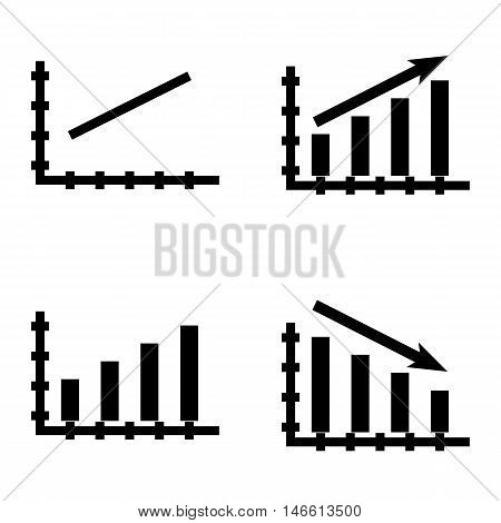 Set Of Statistics Icons On Bar Chart, Line Chart And Statistics Growth. Statistics Vector Icons For