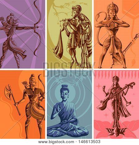 Indian God and Goddess Religious Vintage Poster. Vector illustration