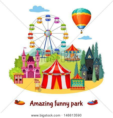 Amusement park colorful composition with extreme and adventure entertainments on natural landscape background vector illustration