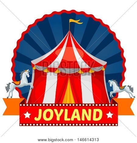 Amusement park emblem with striped circus tent and horses on blue round background with rays vector illustration